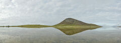 Ceapabhal Mirror Pano, Scarasta, Harris, Scotland, reflection, magnitude, wind shear, tidal, bay, pan, water, skin, sky