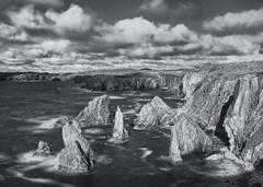 Clash of Titans Mono, Mangerstadh, Lewis, Scotland, shards, rock stacks, coast, cliff, shadow, texture, sunlight, craggy