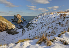 Coastal Snow Portknockie, Portknockie, Moray, Scotland, winter, white, snow, low temperatures, warm sunlight,