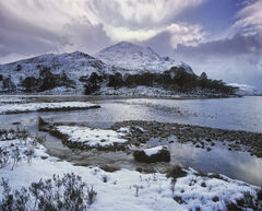 Crowning Glory Loch Clair, Loch Clair, Torridon, Scotland, winter, sun, shadows, mountain, snow, crown, rays, clouds