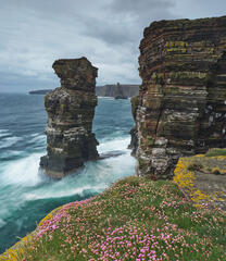 A dense covering of lichen and pink thrift on the grassy platform is a great foreground for the fearsome tempest roaring below around the sea stacks.
