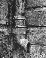 Drainpipe, Blairs Loch, Moray, Scotland, roof, boat shed, paint, peeled, textures, patterns, black and white, conversion