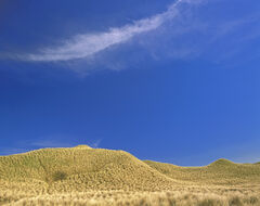 Dream Dunes, Dunnet Bay, Caithness, Scotland, graphic, minimal, sculpted, grass, fluffy, clouds, complementary, cirrus