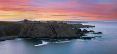 Dunottar Summer, Dunottar Castle, Stonehaven, Scotland, sky, crimson, scarlet, gold, rape, tidal, swell, surf, rocks, pa