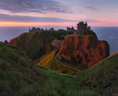 Dunottar Sunrise, Dunottar Castle, Stonehaven, Scotland, transient, blood, sumptuous, light, red, flowers, grass, castle