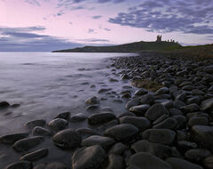 Dunstanburgh beach, Dunstanburgh, Northumbria, England, pre-sunrise, pink, light, sea, Embleton Bay