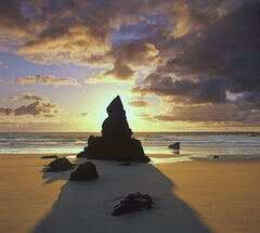 Durness Squared, Durness, Sutherland, Scotland, wizarding, hat, black, rock, stack, isolated, caramel, beach, sand, sparkling, sea, shadow, summer, sunrise