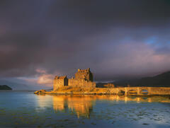 Eilean Donan Gold, Loch Duich, Highland, Scotland, icon, castle, sensational, dawn, autumnal, burnished, gold, inky, blu