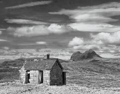 Elphin Derelict, Elphin, Assynt, Scotland, lovely, fairytale, curtains, flapping, breeze, view, cloud, blue, sky, soft,
