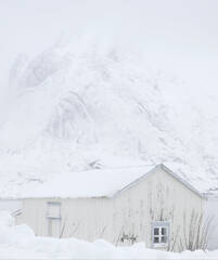 Fading Into Oblivion, Reine, Lofoten, Norway, weather, harbour, sympathetic, faded, cream, hut, mountain, blizzard