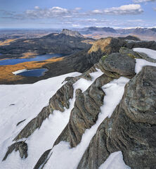 Fiddler's View, The Fiddler, Inverpolly, Scotland, precipitous, rockface, snow, treacherous, parallel, layered, sandston