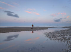 Findhorn Highlights, Findhorn, Moray, Scotland, cloud, light, Earth's shadow, red, jacket, blue, twilit, figure, scale,