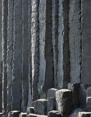 Fingals Fingers, Staffa, Inner Hebrides, Scotland, grey, columns, cliffs, Fingal's cave, entrance, light, lined, hexagon