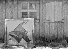 Fractured Hope, Vollen, Lofoten, Norway, monochrome, broken, pane, despair, love, lost, ruined, house