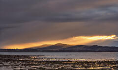 Gold Finger Inverness, Allanfearn, Highland, Scotland, location, winter, sunset, Kessock road bridge, lighting, curtains, golden, hole, clouds, city, weather, rain