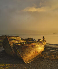 Gold Plated Salen, Salen, Mull, Scotland, morning, wrecks extraordinary, light, raining, backlit, clouds, gold plated, h