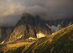 Golden Hour Aiguille, Les Houches, Chamonix, France, stormy, sulky, sky, gold, drama, last light
