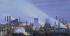 Grangemouth Pano, Grangemouth, Falkirk, Scotland, petrochemical, plant, processing, blue, ambient, artificial, steam, co