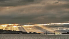 Holy Light Inverness, Allanfearn, Highland, Scotland, drizzled, sun, lower, dense, grey, clouds, transient light, crepuscular rays, painted, curtain, golden, aurora