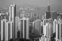 No City Limits, The Peak, Hong Kong, S.E. Asia, Peak, overlooking, elevated, view, haze, scale, black and white