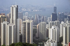 Hong Kong Heights, The Peak, Hong Kong, S.E. Asia, Peak, overlooking, city, clear, elevated, view, haze, colour, scale