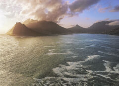 Hout Bay Gold, Chapmans Peak, South Africa, Africa, huge seas, battered, coast, Chapmans Peak, cliffs, spray, golden, su