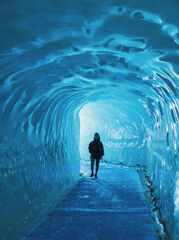 Ice Tunnel, Mer De Glace, Chamonix, France,ice caverns, glacier, compressed, blue, ice, honed, slippery, Mont Blanc Mass