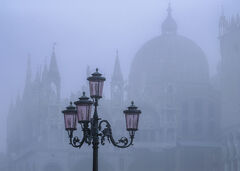Illicit Rendezvous, St Marks Square, Venice, Italy, October, mist, buildings, ancient, enveloped, pink, venetian, lamps,