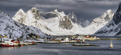 Impending Storm Reine, Reine, Lofoten, Norway, dramatic, beautiful, town, scenic beauty, morning, sunlight, storm, intense, snow storms, harbour, mountain