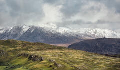 Interlocking hills in a mix of seasonal colours from theregion of Knockan Crag in Assynt.