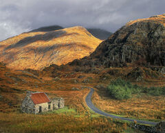 Kaleidoscape, Kinlochourn, Highlands, Scotland, stone, bothy, red, roof, hills, gold, autumn, dappled, sunlight