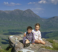 Kids Stac Pollaidh, Stac Pollaidh, Inverpolly, Scotland, Lauren, Ben, children, four, six, scampered, Stac Pollaidh, hill, summer