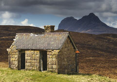The weathered derelict and ruined hut at Elphin still makes a wonderful subject especially in sunlight against a brooding Suilven