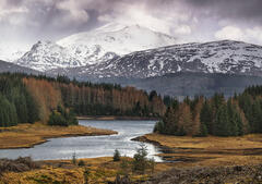 Lochaber Cloudburst, Glen Spean, Highlands, Scotland, dark, moody, sky, snow, hail, sleet, Spring, muted, intersecting,