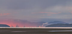 Oil Rig Nursery Inverness, Findhorn, Moray, Scotland, sectional enlargement, panoramic, mist, pink, framing, winter