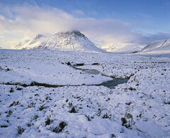 On a Winters Day, Glencoe, Highlands, Scotland, fabulous, winter, summit, Buachaille, golden, hue, blue, snow, palette