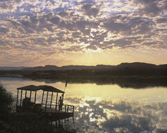 Orange River Sundowner, Orange River, South Africa, Africa, sequence, sunset, sun, sky, border, Namibia, reflected, clou