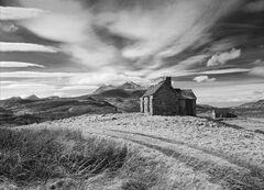 Outlook Good, Elphin, Assynt, Scotland, house, nursery rhyme, fairy tale, location, property, view, Cul Mor, sky, black