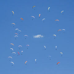 Paraballet, Annecy, Haute Savoie, France, mountains, summer, paragliding, cloud, cotton wool, wheel, square, circles,