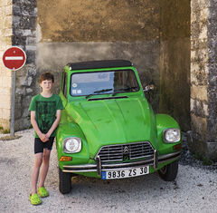 Quintessentially French, Lussan, Ardeche, France, unique, Citroen 2CV, son, Ben, green, shoes, T-shirt, matching