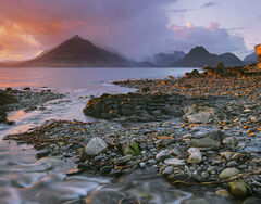 Saint Elgols Fire, Elgol, Skye, Scotland, luminous, meandering, flow, stream, sea, sunset, coast, snow, mountains