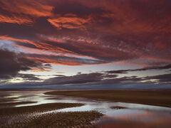 Scorched Earth Findhorn 2, Findhorn, Moray, Scotland, composition, channel, tide, fill, crimson, plum, blackberry, refle