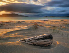 Gorgeous low angled sunlight flickering out behind Taransay illuminates the sand beds and an old hunk of driftwood on Seilebost beach.