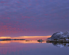 Senja Gloaming, Straumsnes, Senja, Norway, sun, reflection, stunning, flecked, crimson, unearthly, arctic, mountains, su