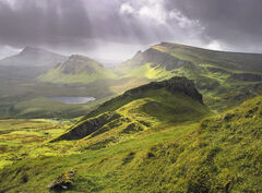 Sharks Fin, Quiraing, Skye, Scotland, Trotternish, ridge, escarpment, view, summer, showers, squall, light, hills, cloud