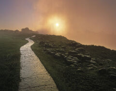 Shining Path, Victoria Falls, Zimbabwe, Africa, difficult, light, path, massive, gorge, orange, mist, spray, blowing, su