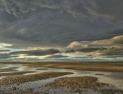 Sliver of Light, Findhorn, Moray, Scotland, wave, light, sunlight, heavy, cloud, fleetingly, sand spit