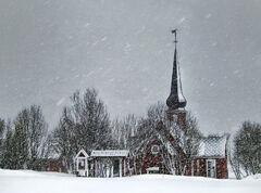 Snowstorm Flakstad Church