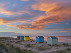 Spectacular,  Findhorn Bay, Moray, Scotland, evenings, sunset, peak, colour, orange, twisted, clouds, string, beach Huts,  reflected, sea