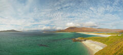A high viewpoint over Seilebost beach and Luskentyre bay on the Isle of Harris on a perfectly gorgeous Spring morning.